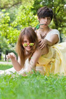 Free Pretty Girls In Funny Sunglasses Stock Image - 15159851