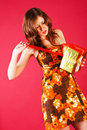 Free Beautiful Young Girl In Dress With A Present Royalty Free Stock Image - 15161156