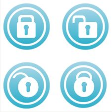 Set Of 4 Lock Signs Royalty Free Stock Photo