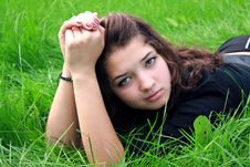 Free Girl On Grass. Stock Photography - 15161372