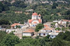 Small Cretan Village With Church Royalty Free Stock Photo