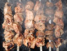 Free Kebabs On The Grill Stock Photography - 15162172