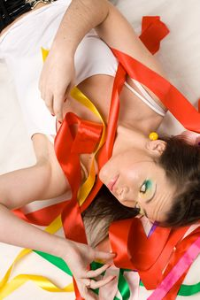 Free Sexy Girl With Colourful Ribbons Stock Photos - 15162503