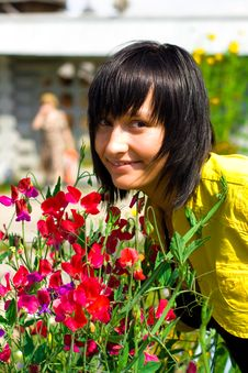 Free Girl With Flowers Stock Image - 15162871