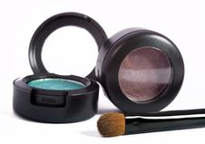 Free Two Eyeshadows And Brush Royalty Free Stock Photos - 15163058