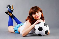Free Young Girl With A Soccer Ball Stock Photography - 15163472