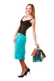 Free Attractive Young Lady In Blue Skirt With Packets Stock Image - 15163491