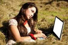 Free Beauty And Computer In The Village. Royalty Free Stock Images - 15163619