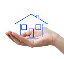 Free Hand With Blue Concept House Royalty Free Stock Image - 15163886