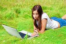 Free Beauty With Computer On A Grass. Royalty Free Stock Images - 15164049