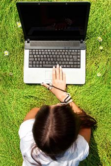 Free Beauty On A Grass With Laptop. Stock Image - 15164051