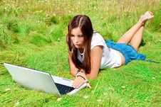 Free Beauty With Laptop On A Grass. Stock Photo - 15164080