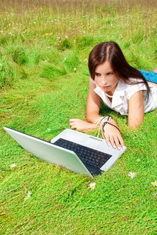 Free Beauty And Laptop On A Grass. Royalty Free Stock Image - 15164086