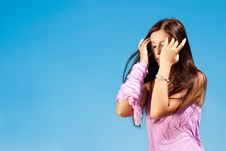 Free Young Lady With Severe Headache. Royalty Free Stock Image - 15164116