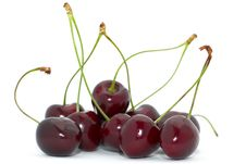 Free Cherries With Green Stem Royalty Free Stock Photos - 15164328