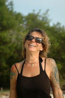 Free Happy Tattoo Woman Stock Photography - 15165452
