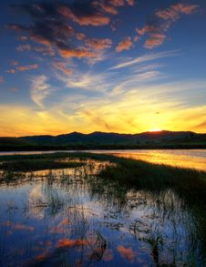 Free Lake At Sunset Royalty Free Stock Image - 15165516