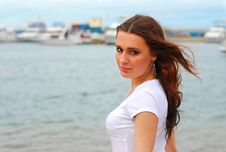 Free Young Beautiful Woman Near The Sea Royalty Free Stock Images - 15166289