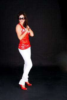 Free Standing Lady In Red Blouse With Sunglasses Stock Photos - 15166743