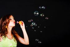 Free Young Modest Beautiful Girl Lets Soap Balls Royalty Free Stock Photo - 15166745