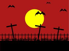 Free Night Cemetery With Bat Against The Dark Red Sky Stock Photos - 15167103