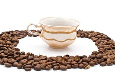 Free Grains Of Coffee And Cup Royalty Free Stock Photo - 15167255