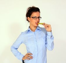 Girl Is Holding Credit Card In Her Mouth Stock Photography