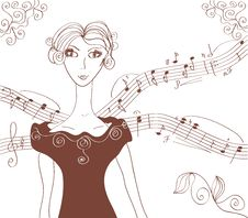 Free Music Retro Girl Background Royalty Free Stock Photos - 15168008