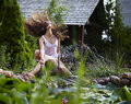 Free Young Happy Girl With Garden Streamlet Near Pond Royalty Free Stock Images - 15171709