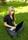 Free The Girl In Black, On The Lawn With A Laptop Stock Images - 15173264