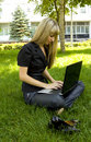 Free Girl In Black Laptop Royalty Free Stock Photos - 15173298