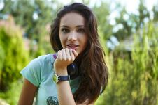 Free Young Beautiful Girl With Earphones Smiling. Royalty Free Stock Photography - 15170937