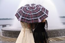 Free Young Women Under The Umbrella. Stock Images - 15172234