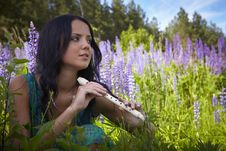 Free Attractive Girl With Flute Sitting In Summer Field Royalty Free Stock Photo - 15172235