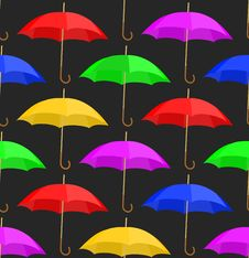 Seamless A Background With Umbrellas Stock Photography