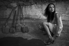 Free Sexual Girl In Black Dress Inside Stone Quarry Royalty Free Stock Photos - 15172668