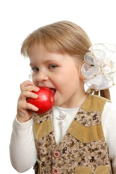 Free Little Girl Biting An Apple Stock Image - 15173051