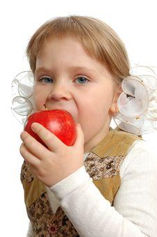 Free The Little Girl Biting An Apple Stock Photos - 15173083
