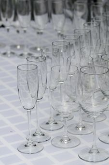 Rows Of Empty And Clean Wineglasses Stock Photography