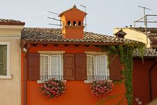 Garda, House Detail At Lake Garda, Italy Stock Photos
