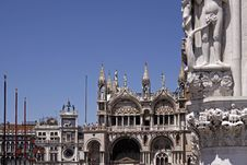 Basilica San Marco, Front Of Marks Church, Venice Royalty Free Stock Photos
