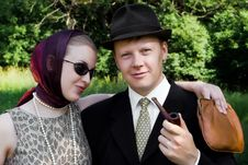 Free Beautiful Girl And Young Man In A Vintage Style Royalty Free Stock Images - 15176089