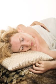 Sleeping Blonde Woman Stock Photography