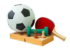 Football, Chess Board, Dumbbell And Racket Stock Photos
