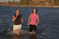 Free Girls Running Through Water Stock Image - 15178361