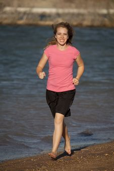 Free Teenager Running Beach Royalty Free Stock Photo - 15178425