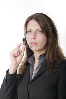 Young Business Woman Wearing Headset Stock Images