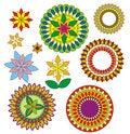Free Decorative Geometric Flowers. Royalty Free Stock Photography - 15183157