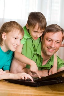 Father With His Sons Stock Photo