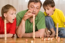 Happy Father With Children Stock Image